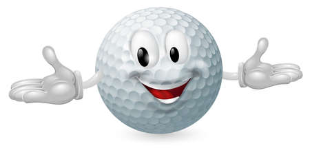 Illustration of a cute happy golf ball mascot man Stock Vector - 14095034
