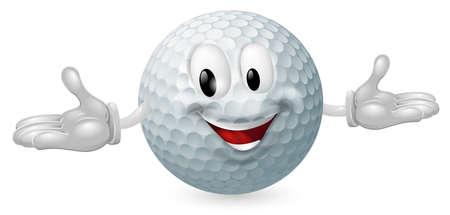 pelota de golf: Ilustraci�n de un hombre feliz linda mascota de una pelota de golf
