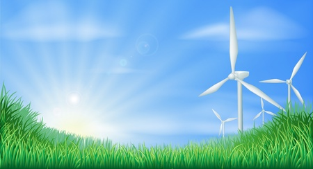 windturbine: Illustration of wind turbines in green landscape for sustainable renewable energy power generation