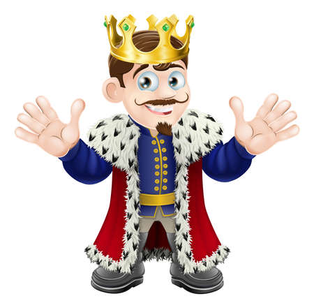 cartoon king: A fun King illustration with gold crown happily waving with both hands