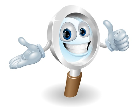 Search magnifying glass character illustration, hell help you find anything you need. Vector