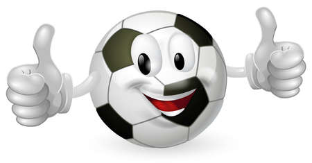 Illustration of a cute happy soccer football ball mascot man smiling and giving a thumbs up Illustration
