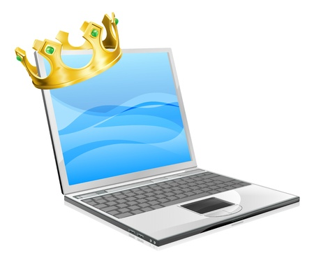 Laptop king concept illustration, a laptop computer wearing a crown Stock Vector - 14196452