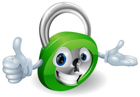 green thumb: Smiling padlock safety concept mascot with thumbs up and open hand