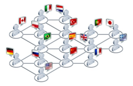 International network concept. People linked in a network speaking different languages. Stock Vector - 14196450
