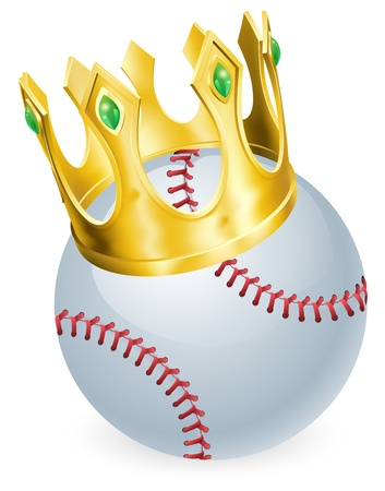 baseball cartoon: King of baseball concept, a baseball ball wearing a gold crown