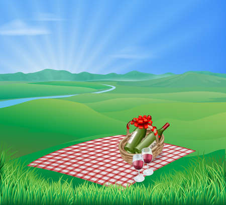 picnic blanket: Picnic blanket and red wine in natural landscape. Romantic scene Illustration