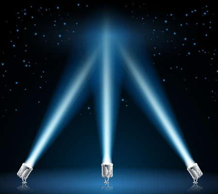 spotlight lamp: Illustrazione di punta i fari nel cielo notturno Vettoriali