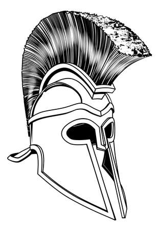 Monochrome illustration of a bronze Corinthian or Spartan helmet like those used in ancient Greece or Rome Vector