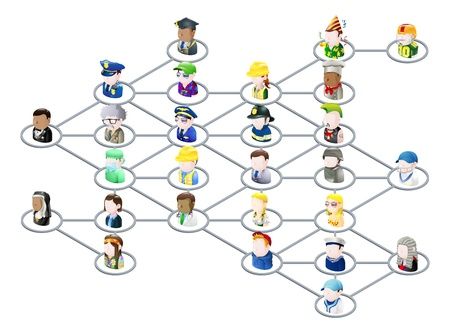 Graphic of a network of people linked together like on social media or on the net in general Vector