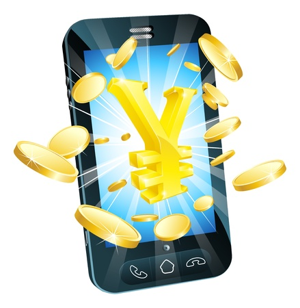 Yen money phone concept illustration of mobile cell phone with gold yen sign and coins Vector