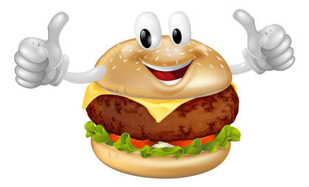hamburger bun: Illustration of a cute happy beef or cheese burger mascot man smiling and giving a thumbs up