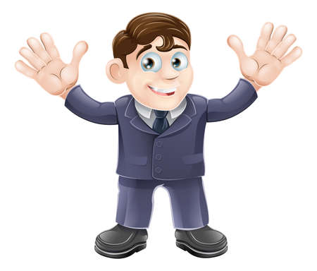 wave hello: Illustration of a cute businessman in a suit waving with both hands and smiling