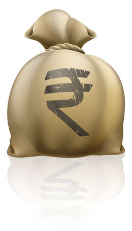rupee: Illustration of a big sack with Rupee currency sign
