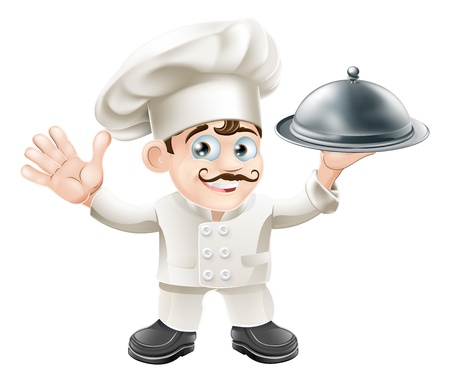 A cute French chef mascot with moustache holding a silver food platter and looking at viewer  Illustration