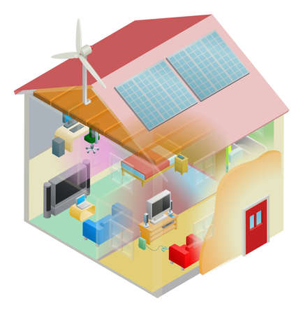 energy conservation: Energy efficient home house with cavity wall and loft insulation, wind turbine and solar panels on the roof. Illustration