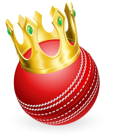 crickets: King of cricket concept, a cricket ball wearing a gold crown