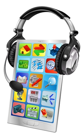 ear phones: Cell phone support service concept. Cell phone wearing a headset