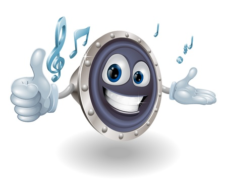 speaker system: A happy speaker mascot giving a thumbs up with musical notes
