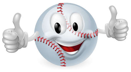 baseball cartoon: Illustration of a cute happy baseball ball mascot man smiling and giving a thumbs up