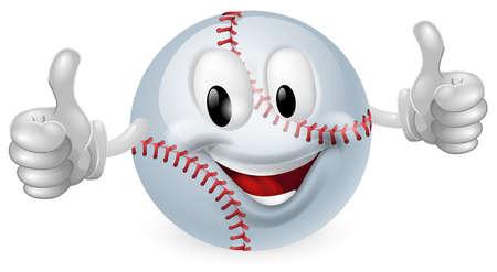 guante de beisbol: Ilustraci�n de un hombre feliz linda mascota de la bola de b�isbol sonriendo y dando un pulgar hacia arriba Vectores