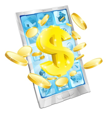 coming out: Dollar money phone concept illustration of mobile cell phone with gold dollar and coins