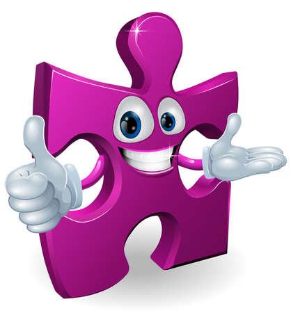 Illustration of a cute jigsaw cartoon mascot Vector
