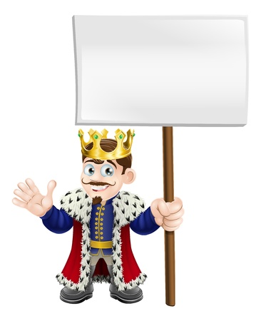 A cute king waving and holding up a sign board Vector
