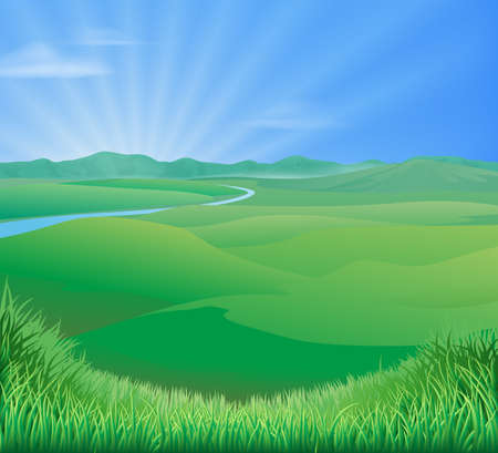 An idyllic rural landscape illustration with rolling green grass hills and a sun rising over mountains