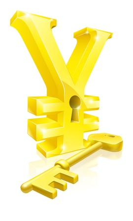 key hole: Conceptual illustration of a gold Yen sign and key. Concept for unlocking financial success or cash or for financial security.