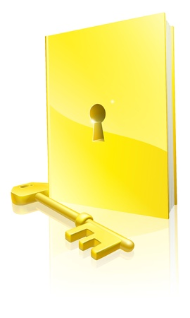 A golden locked book with a key. Education concept. Vector
