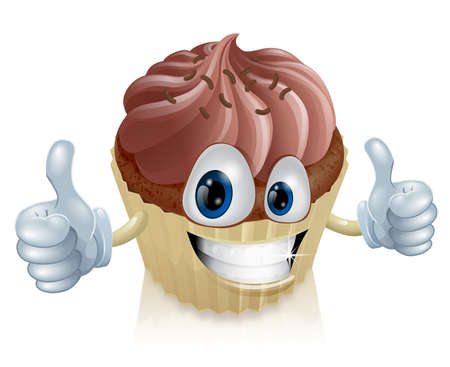 cup cakes: A happy chocolate cupcake mascot smiling with a double thumbs up