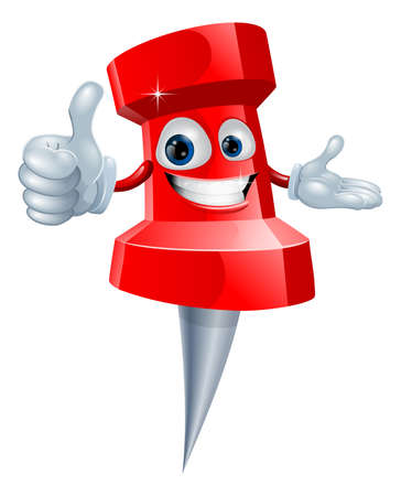 pin up: Cartoon red drawing pin man smiling and giving a thumbs up