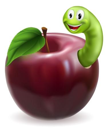 oruga: Ilustraci�n de un lindo feliz de oruga verde o gusano que sale de una jugosa manzana roja