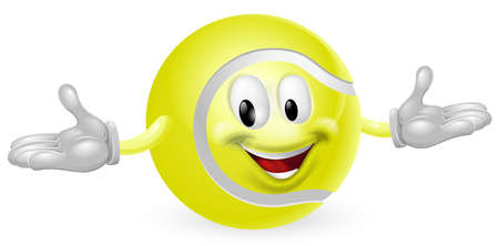 Illustration of a cute happy tennis ball mascot man Stock Vector - 14366696
