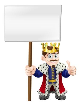 rey: Un rey sonriendo feliz dando un pulgar hacia arriba y sosteniendo un cartel