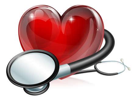 estetoscopio corazon: Ilustraci�n del concepto m�dico de s�mbolo en forma de coraz�n y un estetoscopio
