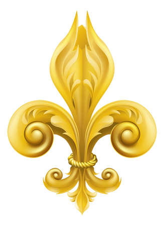 fleur de lis:  Illustration of a gold fleur-de-lis graphic design element