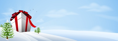 Illustration of a giant Christmas gift in winter landscape, banner background Vector