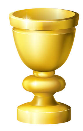 comunion: Ilustración de un grial de taza o copa de oro brillante