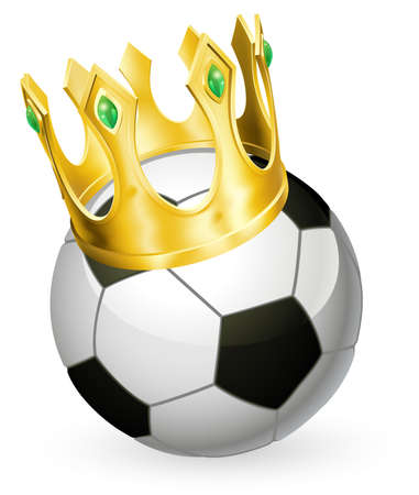 King of soccer concept, a football soccer ball wearing a gold crown Illustration