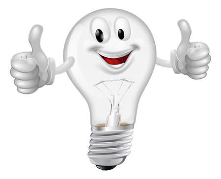 bulb: Illustration of a happy cartoon lightbulb man giving a thumbs up