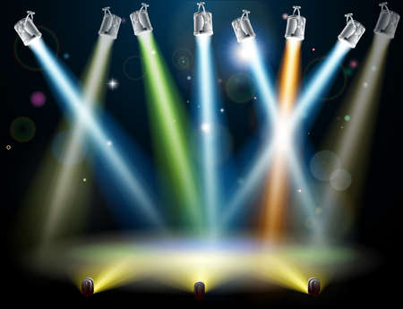 stage lights: Dramatic multicolored lights like those on a dance floor in a disco or used in a stage light show