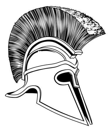 Graphic of a bronze Trojan Helmet, Spartan helmet, Roman helmet or Greek helmet. Corinthian style. Vector