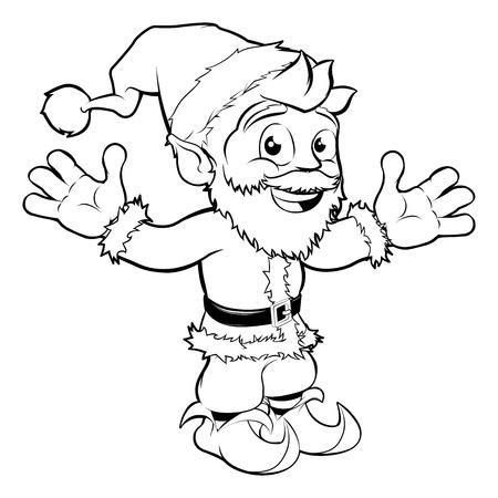 nick: Monochrome Christmas drawing of happy Santa smiling and waving