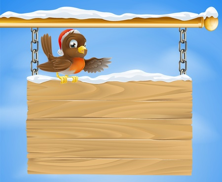 Traditional cartoon Christmas Robin bird on snow covered sign with Santa hat Stock Vector - 14465998