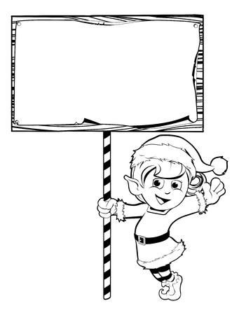 Happy girl Christmas elf wearing santa hat and holding a sign Vector