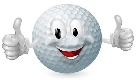 golf cartoon characters: Illustration of a cute happy golf ball mascot man smiling and giving a thumbs up