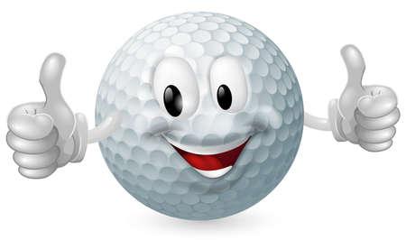pelota de golf: Ilustración de un hombre feliz linda mascota de una pelota de golf sonriente y dando un pulgar hacia arriba