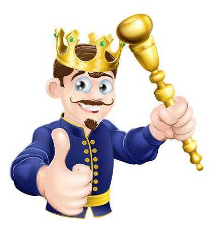 scettro: Illustrazione di un re in possesso di un cartone animato felice scettro d'oro Vettoriali